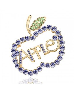 Austrian Crystal All-over Style Apple Golden Brooch - Violet