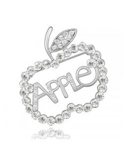 Austrian Crystal All-over Style Apple Platinum Brooch - Transparent