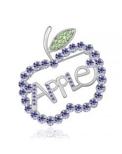 Austrian Crystal All-over Style Apple Platinum Alloy Brooch - Violet