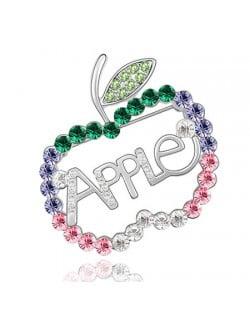 Austrian Crystal All-over Style Apple Platinum Alloy Brooch - Multivolor
