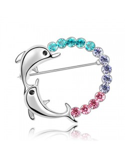 Dual Dolphins Hoop Austrian Crystal Brooch - Multicolor