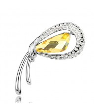 Stylish Peacock Feather Austrian Crystal Brooch - Yellow