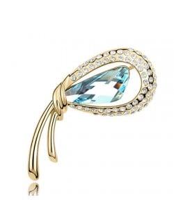 Golden Stylish Peacock Feather Austrian Crystal Brooch - Aquamarine