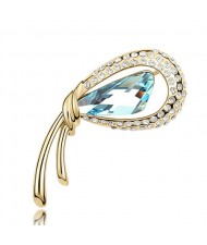Golden Stylish Peacock Feather Austrian Crystal Brooch - Aquamarine
