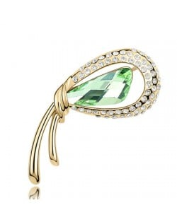Golden Stylish Peacock Feather Austrian Crystal Brooch - Olive