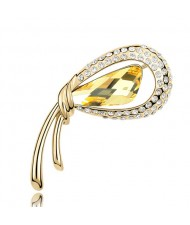Golden Stylish Peacock Feather Austrian Crystal Brooch - Yellow