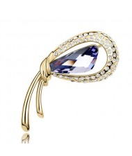 Golden Stylish Peacock Feather Austrian Crystal Brooch - Violet
