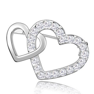 Crossed Twin Hearts Design Crystal Brooch - Transparent