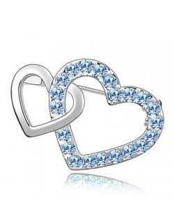 Crossed Twin Hearts Design Crystal Brooch - Sky Blue