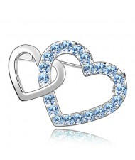 Crossed Twin Hearts Design Crystal Brooch - Sky Blue
