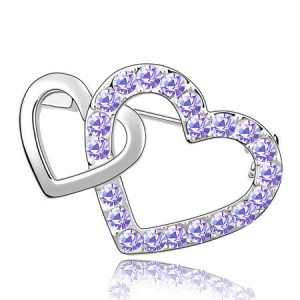 Crossed Twin Hearts Design Crystal Brooch - Violet