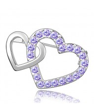 Crossed Twin Hearts Design Crystal Brooch - Violet