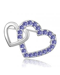 Crossed Twin Hearts Design Crystal Brooch - Purple