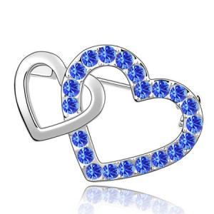 Crossed Twin Hearts Design Crystal Brooch - Blue