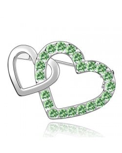 Crossed Twin Hearts Design Crystal Brooch - Olive