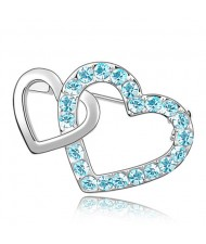 Crossed Twin Hearts Design Crystal Brooch - Aquamarine