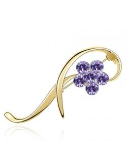 Elegant Arc Design Crystal Flower Decorated Golden Alloy Brooch - Purple