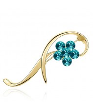 Elegant Arc Design Crystal Flower Decorated Golden Alloy Brooch - Aquamarine