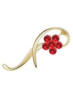 Elegant Arc Design Crystal Flower Decorated Golden Alloy Brooch - Red