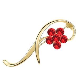 Elegant Arc Design Crystal Flower Decorated Golden Alloy Brooch - Red