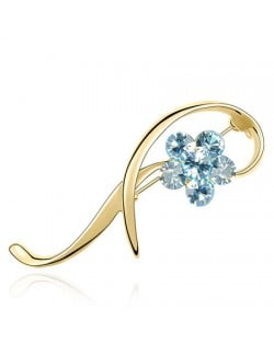 Elegant Arc Design Crystal Flower Decorated Golden Alloy Brooch - Light Blue
