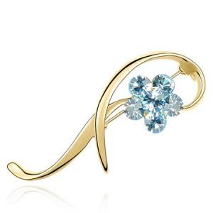 Elegant Arc Design Crystal Flower Decorated Golden Alloy Brooch - Light Blue