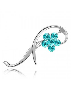 Elegant Arc Design Crystal Flower Decorated Platinum Alloy Brooch - Aquamarine