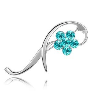 Elegant Arc Design Crystal Flower Decorated Platinum Alloy Brooch - Aquamarine