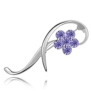 Elegant Arc Design Crystal Flower Decorated Platinum Alloy Brooch - Purple