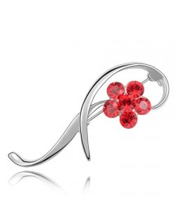 Elegant Arc Design Crystal Flower Decorated Platinum Alloy Brooch - Red