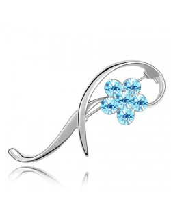 Elegant Arc Design Crystal Flower Decorated Platinum Alloy Brooch - Light Blue