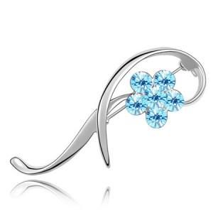 Elegant Arc Design Crystal Flower Decorated Platinum Alloy Brooch - Light Blue
