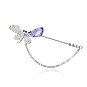 Graceful Mini Dragonfly Crystal Brooch - Violet