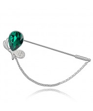 Graceful Mini Dragonfly Crystal Brooch - Green