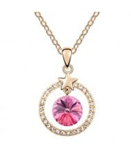 Elegant Star Attached with Suspended Austrian Crystal Design Necklace - Pink