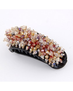 Korean Fashion Miscellaneous Crystal Inlaid Barrette - Red