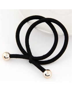Korean Fashion Golden Balls Decorated Bowknot Shape Rubber Hair Band - Black
