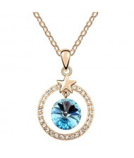 Elegant Star Attached with Suspended Austrian Crystal Design Necklace - Blue