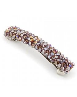 Korean Fashion Handmade Crystal Beads Barrette - Purple