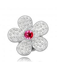 Glistening Flower Design Austrian Crystal Brooch - Rose