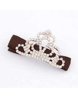 Korean Fashion Rhinestones Inlaid Crown Hair Clip