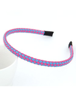 High Fashion Fluorescent Color Weaving Hair Hoop - Blue Pink