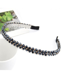 Korean Fashion Handmade Crystal Inlaid Hair Hoop - Royal Blue