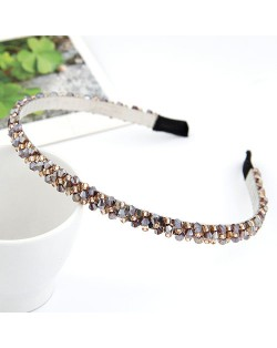 Korean Fashion Handmade Crystal Inlaid Hair Hoop - Light Purple