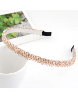 Korean Fashion Handmade Crystal Inlaid Hair Hoop - Champagne