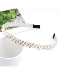 Korean Fashion Handmade Crystal Inlaid Hair Hoop - White