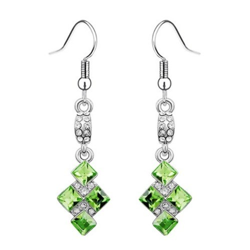Sweet Bolted Crystal Squares Dangling Earrings - Olive