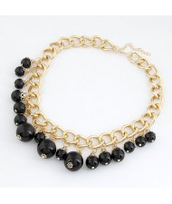 Black Pearls Golden Chunky Chain Costume Necklace