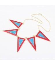 High Fashion Oil-spot Glazed Triangles Short Necklace - Blue