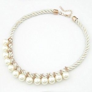 Korean Fashion Pearls Entwined Short Weaving Necklace - White